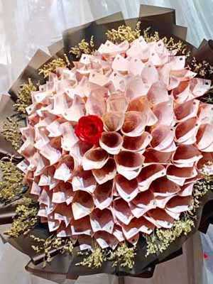 Bó hoa làm bằng tiền 50k