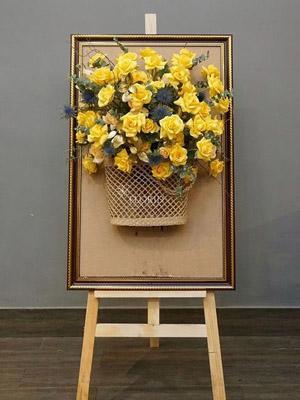 Bảng hoa chúc mừng hoa hồng vàng